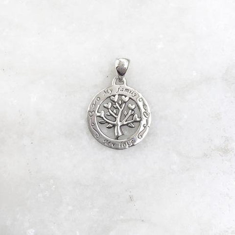 """MY FAMILY MY LOVE"" SILVER PENDANT - SILBERUH"