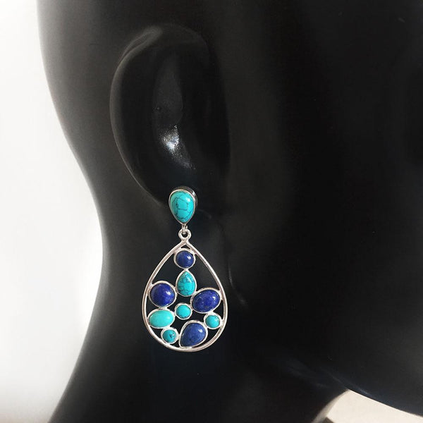 TURQUOISE & LAPIS LAZULI CLUSTER EARRINGS