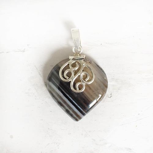 BANDED ONYX SILVER PENDANT - SILBERUH