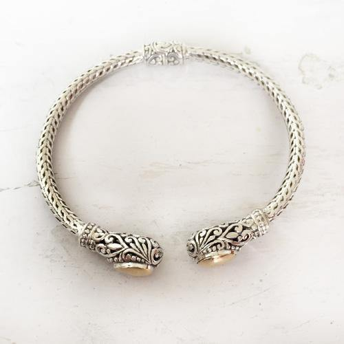 SILVER GOLD FILIGREE BANGLE - SILBERUH