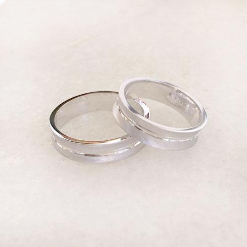 COUPLE SILVER BAND RING - SILBERUH