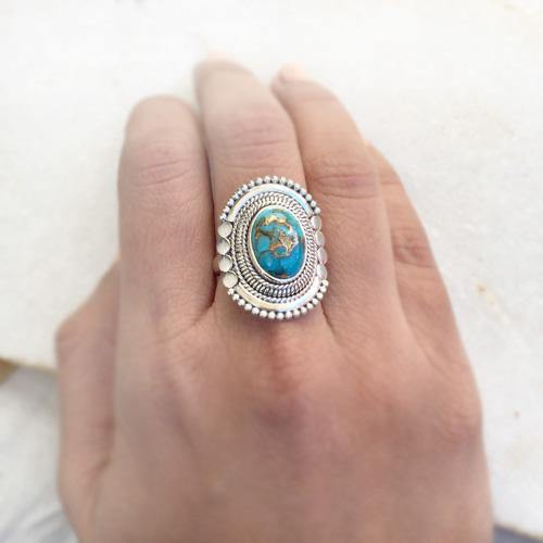 BLUE COPPER TURQUOISE TRIBAL SILVER RING - SILBERUH