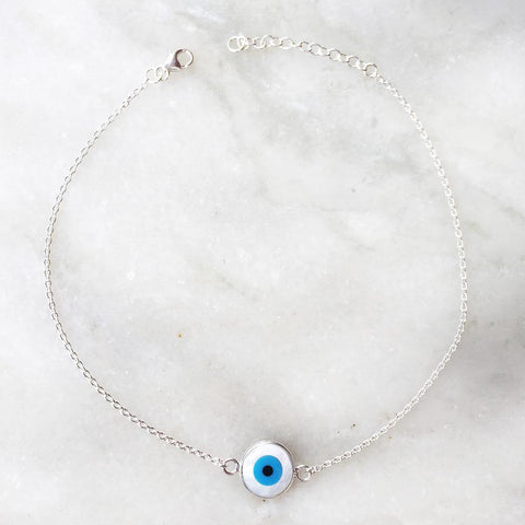 EVIL EYE MOTHER OF PEARL ANKLET - SILBERUH