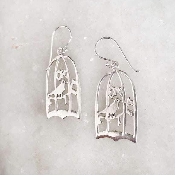 BIRD IN A CAGE SILVER EARRING - SILBERUH