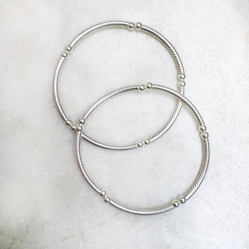 STRETCHABLE SILVER BANGLE - SILBERUH