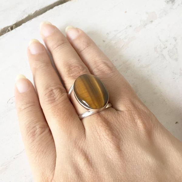 TIGER'S EYE ADJUSTABLE SILVER RING - SILBERUH