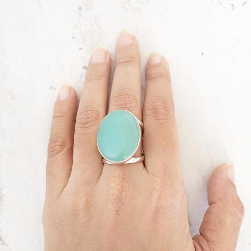 AQUA CHALCEDONY SILVER ADJUSTABLE RING - SILBERUH