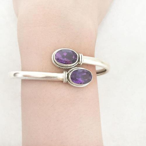 FACETTED AMETHYST SILVER ADJUSTABLE KADA - SILBERUH