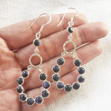 BLUE SUNSTONE GYPSY SILVER EARRING - SILBERUH