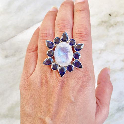 IOLITE & RAINBOW MOONSTONE FACETTED SILVER RING