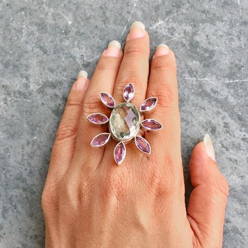 GREEN & PURPLE AMETHYST PHOOL SILVER RING - SILBERUH
