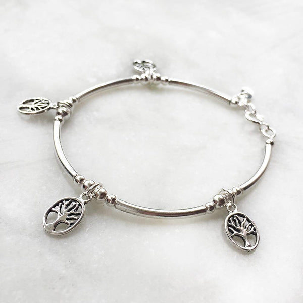 TREE OF LIFE CHARM SILVER BRACELET - SILBERUH