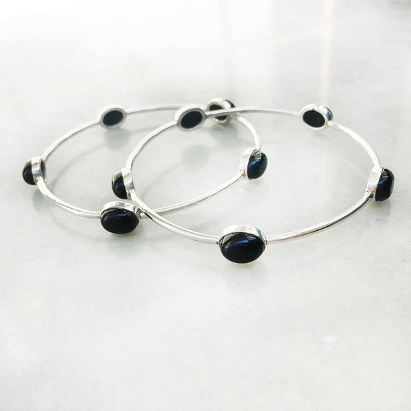 BLACK ONYX SILVER BANGLE - SILBERUH