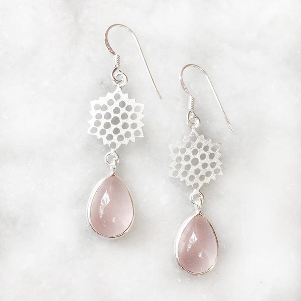 HONEYCOMB ROSE QUARTZ EARRINGS - SILBERUH