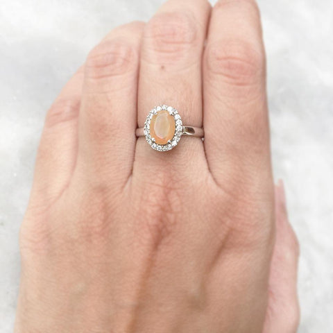 OPAL AUSTRALIAN  FACETTED SILVER RING