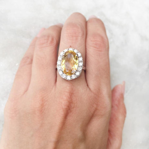CITRINE FACETTED SILVER RING - SILBERUH