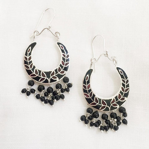 BLACK ENAMEL CHAND SILVER EARRING