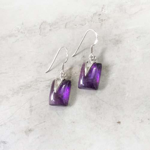 THE GEO AMETHYST EARRING - SILBERUH