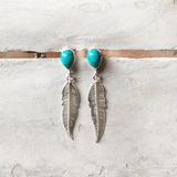 TURQUOISE FEATHER EARRING - SILBERUH