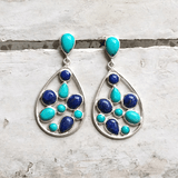 TURQUOISE & LAPIS LAZULI CLUSTER EARRINGS - SILBERUH