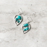 TURQUOISE LEAF SILVER EARRING - SILBERUH