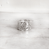 ROMANTIC ROSE SILVER BAND RING - SILBERUH