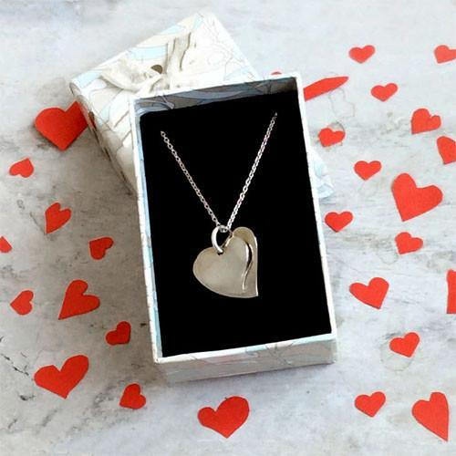 YOUR AND MINE HEART PENDANT WITH CHAIN - SILBERUH