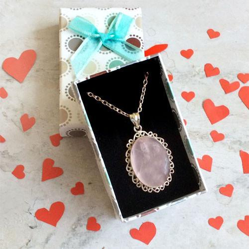 ROSE QUARTZ FILIGREE PENDANT WITH CHAIN - SILBERUH