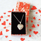 HEART SILVER LOCKET WITH CHAIN - SILBERUH
