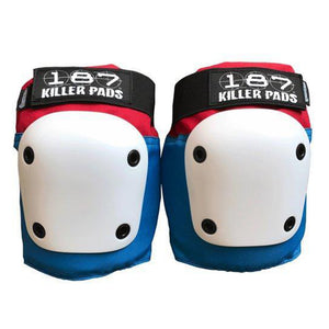 187 - Fly Knee Pads - White Red & Blue