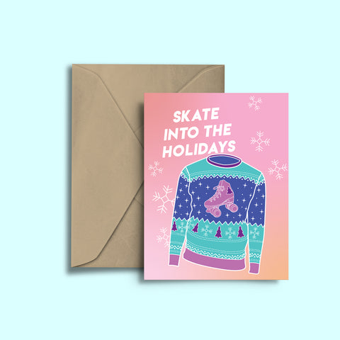 Skate Into The Holidays Greeting Card
