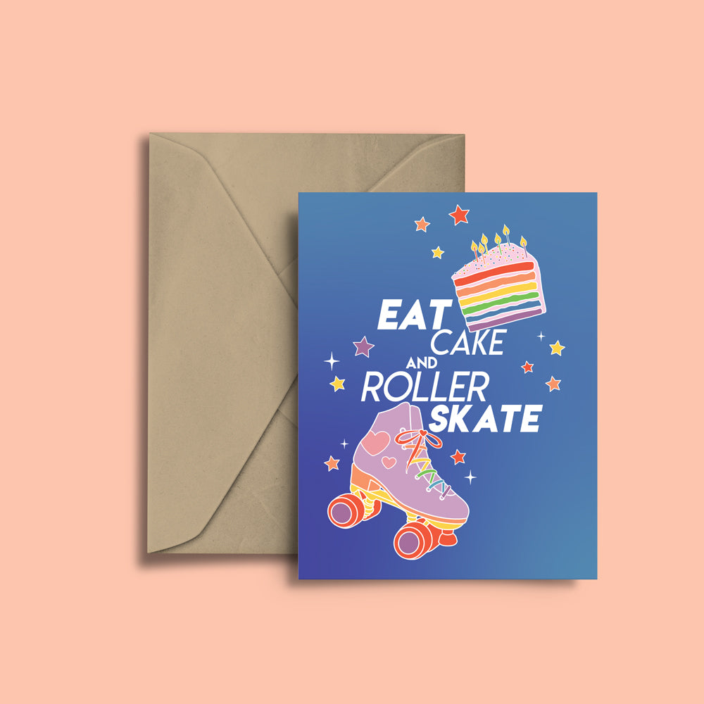 RollerFit - Eat Cake and Roller Skate Greeting Card