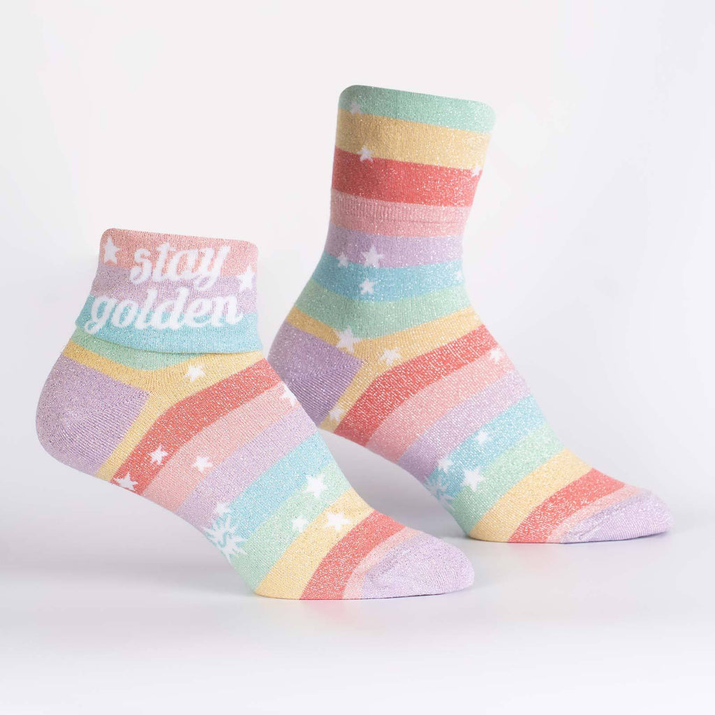 Sock It To Me - Stay Golden Womens Turn Cuff Crew Socks