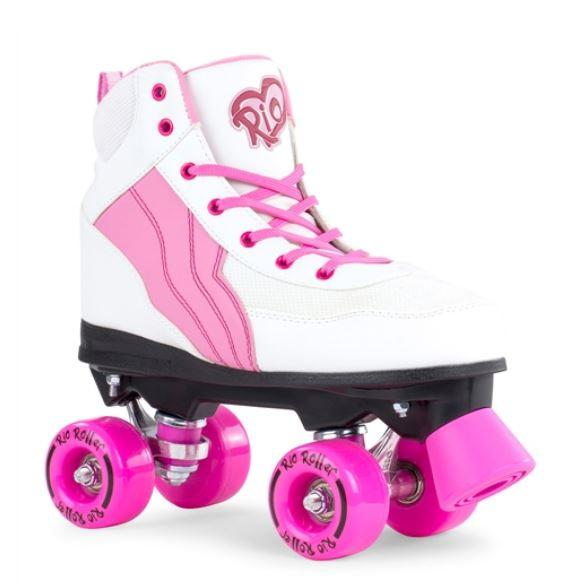 Rio Roller Pure White And Pink Quad Skates