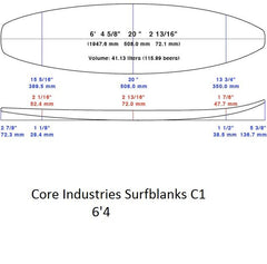 6'4 PU Surfblank - Core industries (Not Sold Out Please Contact Us To Purchase)