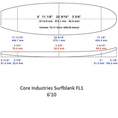 6'10 PU Fish Surfblank - Core industries (Not Sold Out Please Contact Us To Purchase)