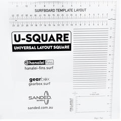 Sanded Australia /Gearbox U- Square Fin Placement Template - Small (half size)