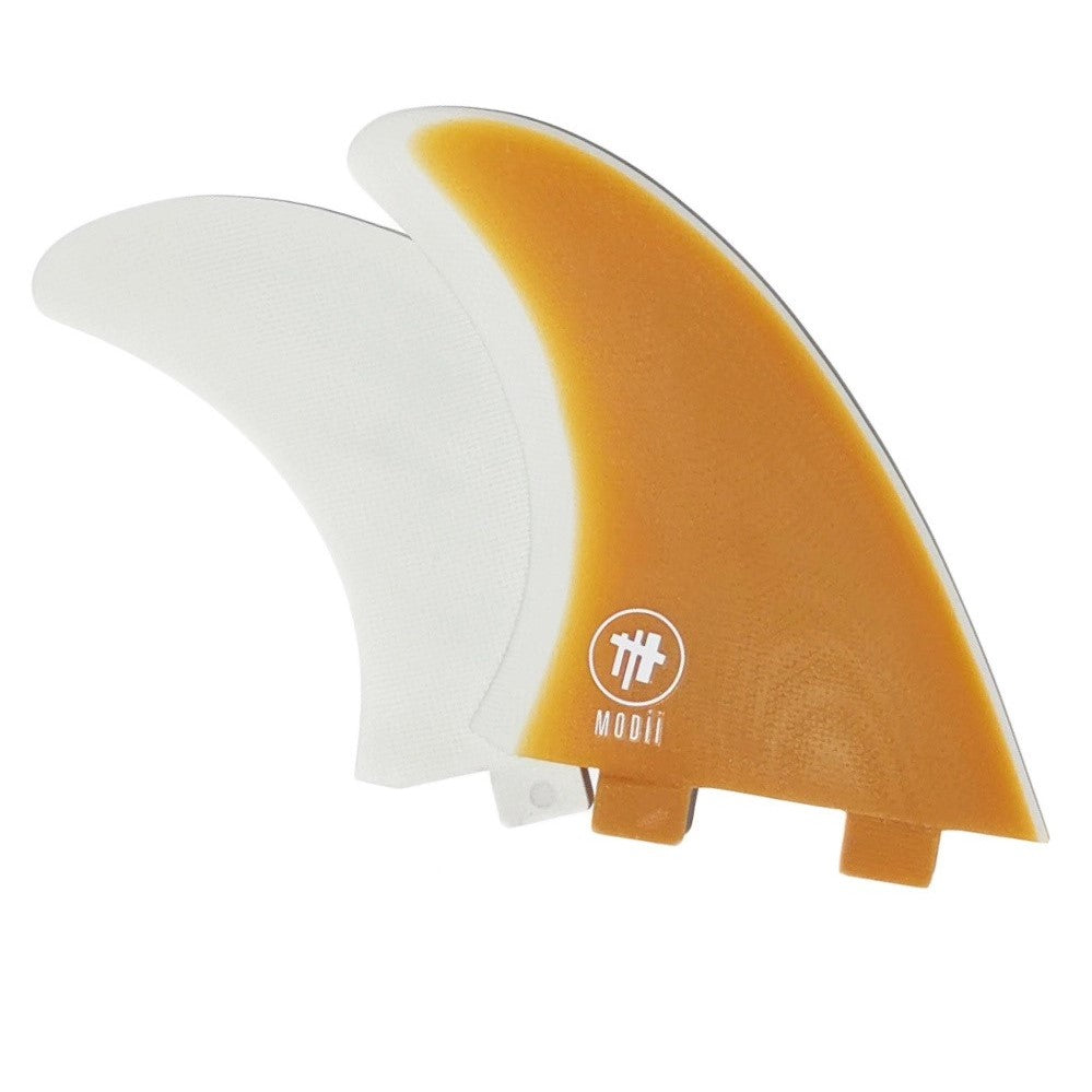 Modii MR Style Twin Fin  Orange and White - Dual Tab Style