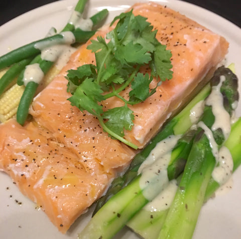 Chefanddivine Thermomix Sous Vide Salmon with varoma steamed vegetables and roux sauce