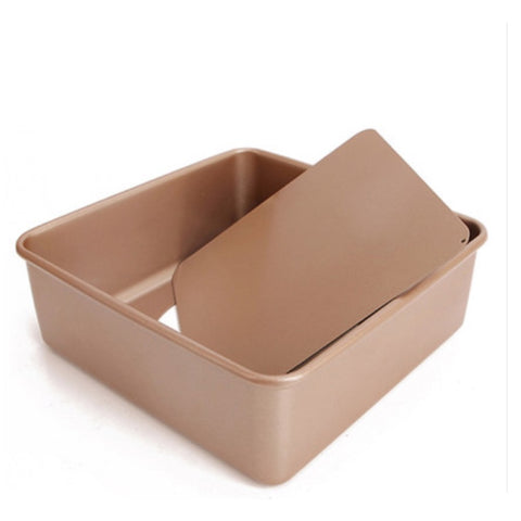 "Chef & Divine Toast 8"" Square Tin Spring Form removable base (Champage gold colour) - Chef and Divine"