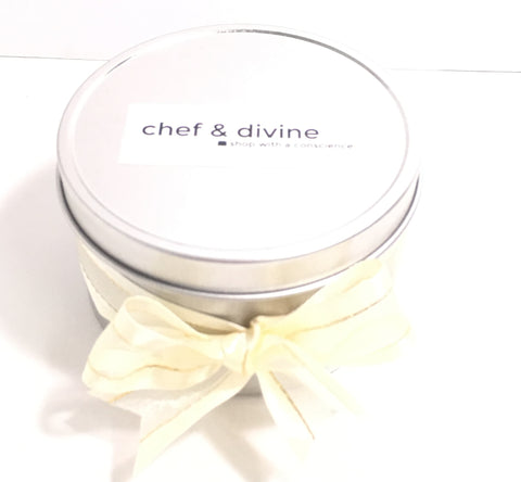 All Natural Beeswax Candle in tin - Chef and Divine