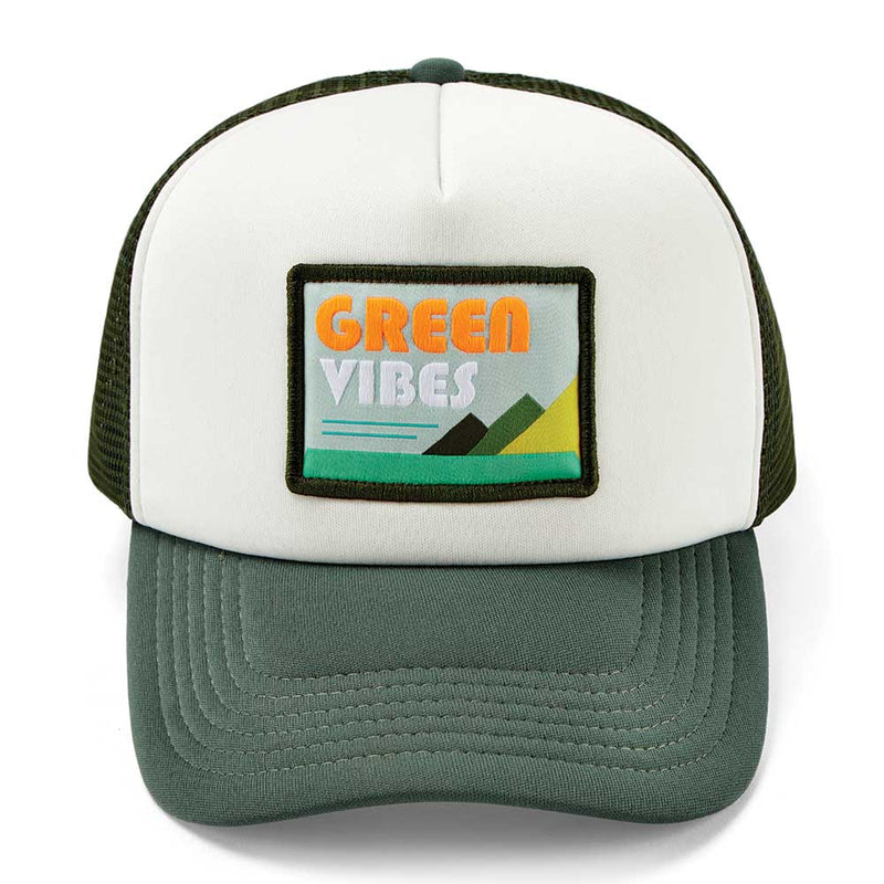 Green Vibes Trucker Cap - White