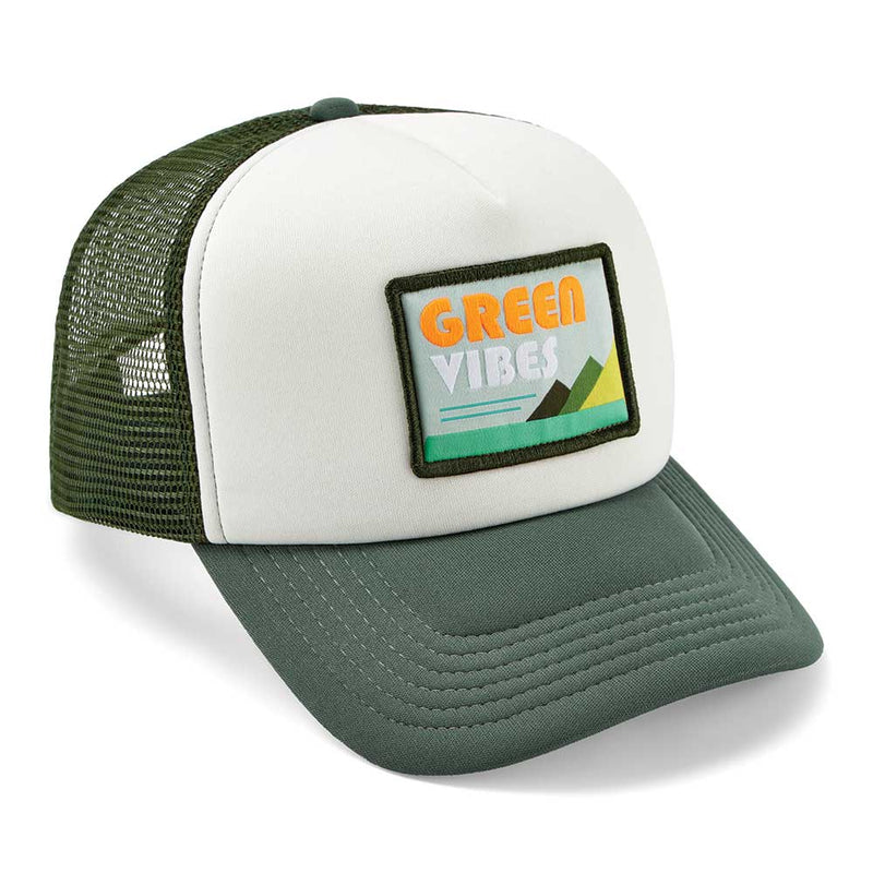 Green Vibes Trucker Cap - White - 5 Panel Caps