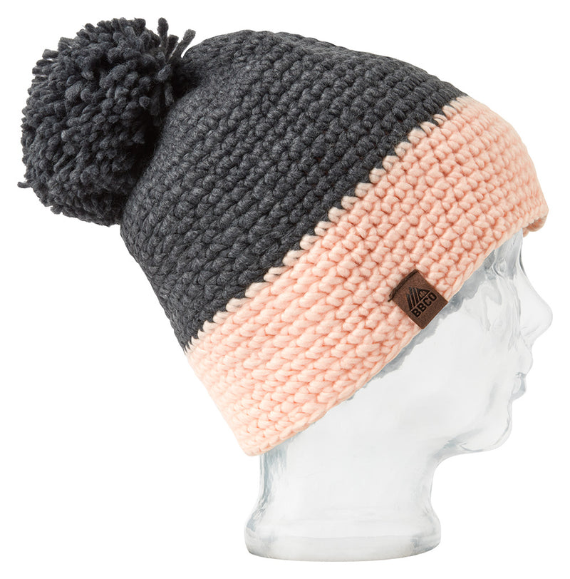 Tomahawk Grey & Peach Beanie Hat - Beanie Hats