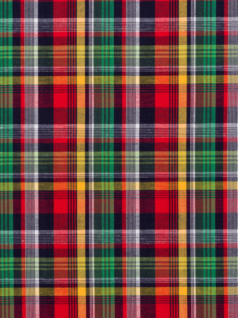 Green, Navy and Red Plaid - Linen and Cotton