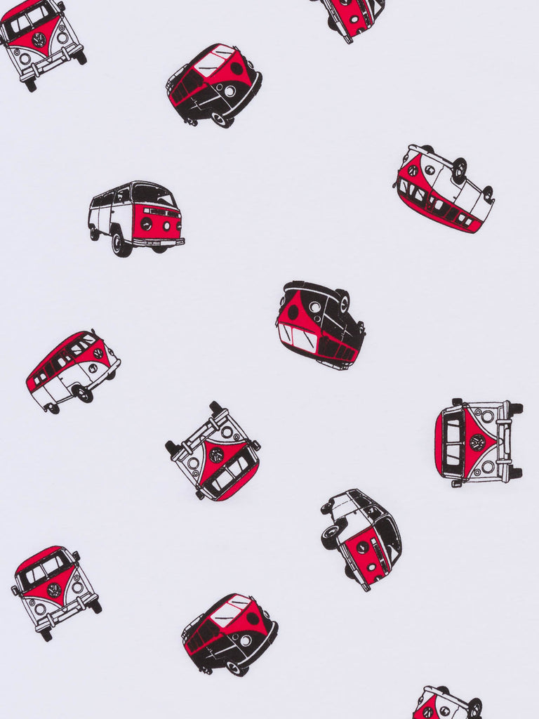 Red Retro Campers - White Single Jersey