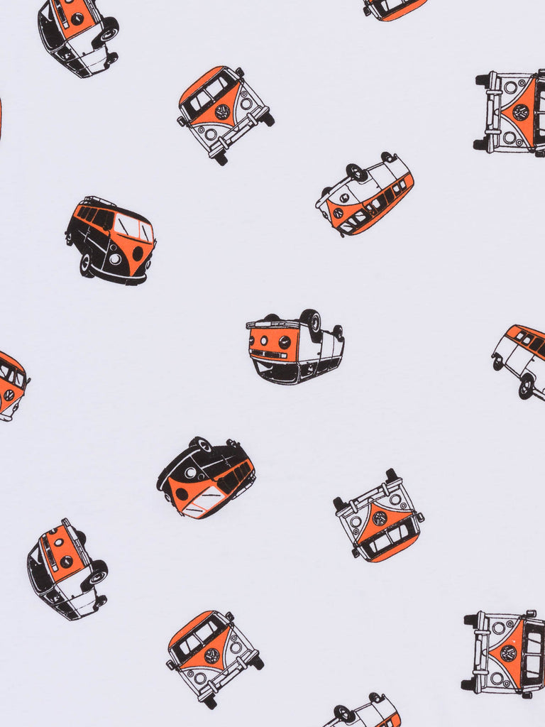 Orange Retro Campers - White Single Jersey