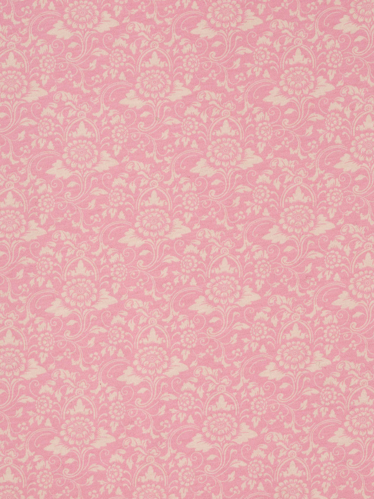 AVOCA Liberty - lightweight 100% cotton jersey  Morris-style pattern with pink & natural tones