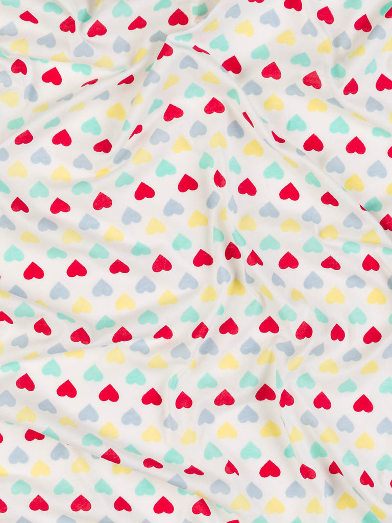 Multi Bright Hearts On White - Cool Cotton Jersey