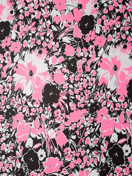 Floral - Pink, Black and White